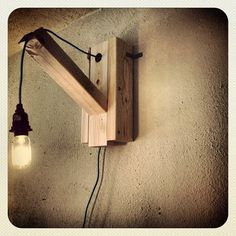 Edison Wall Lamp #shopsqsp Lamp Ideas, Diy Ideas, Bedroom Stuff, Small Apartment Decorating, Wooden Lamp, Industrial Design, Wall Mount, Wood Projects, Repurposed