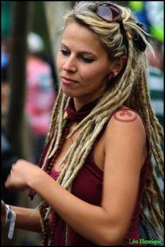Beautiful blonde dread locks- cool half up half down style