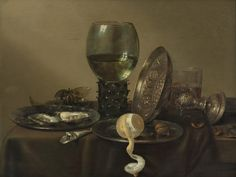 Still Life with Oysters, Roemer, lemon and a silver bowl flaunt Willem Claesz. Heda, 1634.