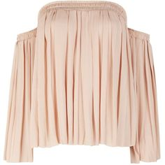 Elizabeth And James Emelyn Blush Off-the-shoulder Top - Size L (7,510 MXN) ❤ liked on Polyvore featuring tops, blouses, shirts, pink off the shoulder top, pleated top, bell sleeve tops, flared sleeve top and off shoulder blouse