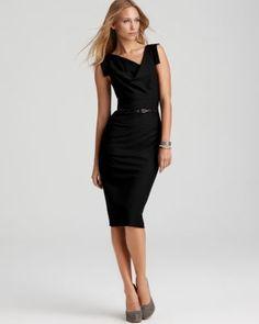 Black Halo Dress - Jackie O Belted Sheath in Stretch Gabardine | Bloomingdale's