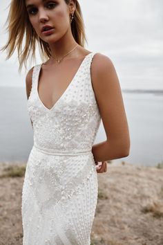 Beaded and Sequin Sparkle Long Sleeve Wedding Dress with Straps, Fitted Bridal Gown. Fontanne by Karen Willis Holmes Luxe Collection Bridal Gowns, Wedding Gowns, Sequin Wedding, Luxe Wedding, Bridal Shoot, Wedding Outfits, Dream Wedding, Karen Willis Holmes, V Neck Wedding Dress