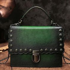 Leather Green Satchel Vintage Purses Vintage Handbags Shoulder Crossbody Bags