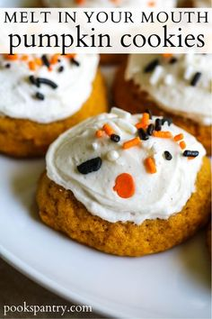 How to make pumpkin cookies that practically melt in your mouth! Pillowy soft and filled with warm, seasonal spices. #howtomakepumpkincookies #pumpkincookies #softpumpkincookies #spicedpumpkincookies #frostedpumpkincookies #cookierecipe