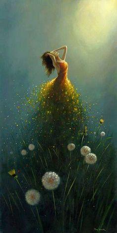 Dandelion Flower Fairy by Jimmy Lawlor Jimmy Lawlor, Dream Art, Fine Art, Belle Photo, Amazing Art, Fantasy Art, Cool Art, Art Photography, Illustration Art