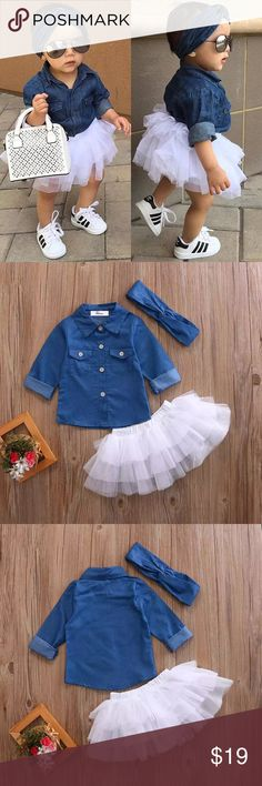 Demin Outfit 0-5T Babies Girl Summer Clothing Set Baby Girls Denim Shirt Top +Tutu Skirts+Headband 3pcs Outfits Sets New Matching Sets https://presentbaby.com