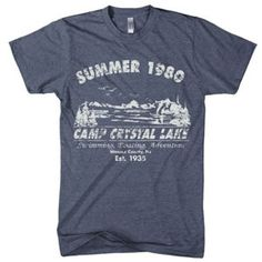 Friday the 13th Summer 1980 Camp Crystal Lake Shirt  All shirts are made of 100% preshrunk cotton.  Twas the summer of 1980 Camp Crystal Lake t shirt ran red. It was true... Jason had returned. The soft vintage feel of this classic Friday the 13th shirt will make you feel like you've been wearing it since your old camp days, and the soft gray print on a royal tee is printed just distressed enough to look the same.