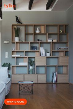 Customizable wall storage from oak particle board - designer, Scandinavian style