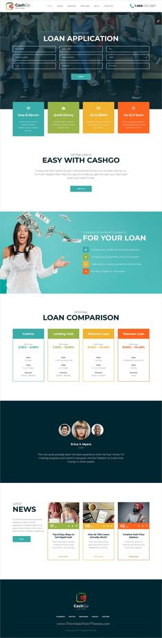 Buy CashGo - Fast Loan Financial Company HTML Template with Visual Page Builder by mwtemplates on ThemeForest. CashGo is a cool new HTML template that was crafted specially for those looking for a solution for fast cash loan co. Web Design Trends, Ui Ux Design, Simple Web Design, Modern Design, Web Layout, Layout Design, Fast Loans, Loan Company, Html Templates