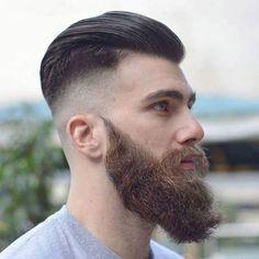 Brushed Back Hair + Bushy Beard