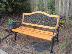 This is a cast iron bench that I refurbished. I installed all new western red cedar wood and gave it a natural cedar stain. I also used new stainless steel fasteners.