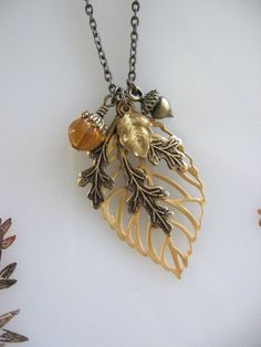 Leaf Necklace Leaf Jewelry Oak Leaf Acorn by CharmedValley on Etsy