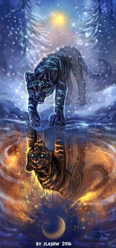 Reflection by FlashW - Happy Tiere Mythical Creatures Art, Magical Creatures, Fantasy Creatures, Cat Wallpaper, Animal Wallpaper, Cute Animal Drawings, Cute Drawings, Anime Animals, Cute Animals