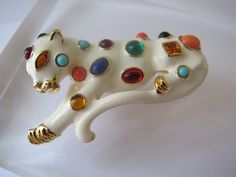 Kennth Jay Lane Stone-Set Enamel Animal Leopard Brooch/ Designer Signed Statement Runway Jewelry/ Big Bold Fun Fantasy Costume Jewelry