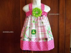 Birthday outfit for kenna? John Deere outfit dress Pink Green Birthday V Back by , via Etsy. Future Daughter, Future Baby, Country Fair Party, John Deere Baby, Western Babies, Kids Outfits, Cute Outfits, Kids Party Themes, Diy Dress