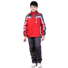 Outdoor Fashion Children Sport Clothing Boy Hiking Jackets [ Green Red ] Waterproof Boys Two Pieces Clothing Sets Free Shipping