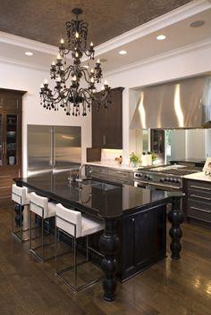 Chandelier, stainless steel, ceiling details, black island & white barstools