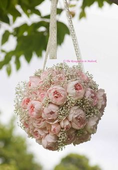 Rose ball~replace baby's breath with mini cream roses~could also use other flowers~