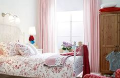In a busy room, such as a bedroom that's packed with furniture, keep the pattern tiny and subtle. That way, you'll get the benefit of the added texture that pattern brings, but it won't fight for attention.