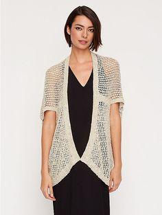 Short-Sleeve Kimono Cardigan in Malibu Linen Cotton Net