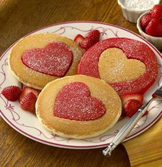 Perfect Heart-Shaped Pancakes for Valentine's Day by auntjemima #Pancakes #Valentines