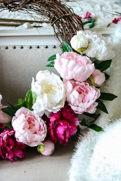 How to Make a Beautiful Peony and Cherry Blossom Spring Wreath pink, white and hot pink peonies and cherry blossoms tutorial
