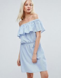 Vero Moda Ruffle Off The Shoulder Dress