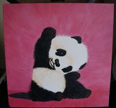 Baby Panda Acrylic on Canvas by EmptyBraineDesigns on Etsy, $40.00