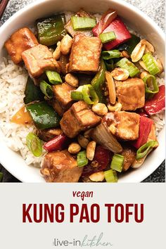 Kung pao tofu is a delicious vegan dinner idea! Firm tofu stir fried with peanuts and vegetables, coated in a sweet and spicy Chinese sauce. #tofu #vegan #kungpao Easy Vegan Dinner, Vegan Dinner Recipes, Tofu Recipes, Vegan Dinners, Easy Healthy Recipes, Cooking Recipes, Meal Recipes, Kung Pao Tofu, 21 Day Fix Vegetarian