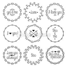 Hand drawn frame of romantic pattern with hearts. Trendy doodle ...