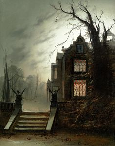 """"""" Wilfred Jenkins (1857-1936), A Country House by Moonlight """""""