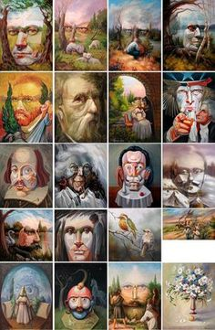 Here's some I've posted all over my different broads ~ opticke iluzie Oleg Shuplyak 21 Optical Illusion Paintings, Cool Optical Illusions, Art Optical, Illusion Pictures, Hidden Images, Oleg Shuplyak, Art Therapy Activities, Unusual Art, Fantasy Paintings