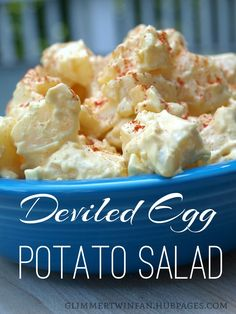 Ingredients used in making deviled eggs, along with potatoes, makes this a delicious Deviled Egg Potato Salad. It's a great side dish at summer picnics or anytime during the year.