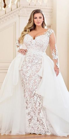 33 Plus-Size Wedding Dresses: A Jaw-Dropping Guide ❤️ plus size wedding dres. 33 Plus-Size Wedding Dresses: A Jaw-Dropping Guide ❤️ plus size wedding dresses sheath with illusion long sleeves lace overskirt martin thornburg Classy Evening Gowns, Plus Size Brides, Plus Size Wedding Gowns, Wedding Dresses For Busty Brides, Winter Wedding Dresses, Summer Wedding, Wedding Dresses For Curvy Women, Plus Size Wedding Dresses With Sleeves, Trendy Wedding