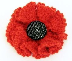 A perfect poppy to sell or wear for Remberance day . Free tutorial with pictures on how to stitch a knit or crochet flower brooch in under 30 minutes by crocheting How To posted by Sooz L. in the Yarncraft section Difficulty: Easy. Crochet Puff Flower, Crochet Flower Patterns, Knitting Patterns, Crochet Roses, Crochet Flower Tutorial, Crochet Leaves, Crochet Stars, Knitted Poppies, Knitted Flowers