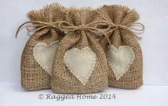 10 x Burlap Hessian Bags with Linen Applique Heart for Wedding Favours - Hessian Crafts, Hessian Bags, Lavender Bags, Lavender Sachets, Creative Gift Wrapping, Creative Gifts, Hessian Wedding, Denim And Lace, Wedding Favours