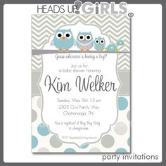 Set of 12 Personalized Gray and Yellow or Blue Boys Owl Family Baby Shower Invitations in Flowers or Chevrons or Polka Dots - 1 Dozen Cards