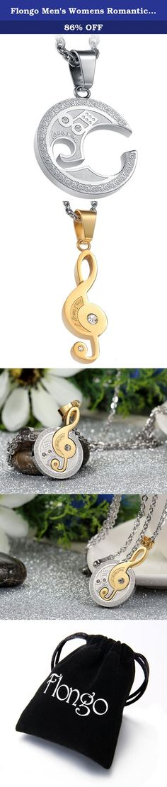 flongo mens womens romantic 2pcs stainless steel couples silver gold g treble clef matching pendant necklace
