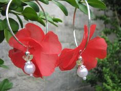 Red flower earrings with an angel by KatKeRosCorner on Etsy, $18.00