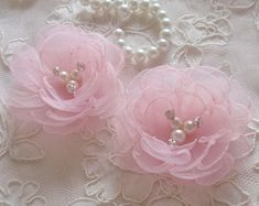 2 Handmade Singed Flower Organza Flower Fabric Rose Fabric Flower Rhinestone Pearl to 3 inches) Pearl Pink Ready To Ship 2 Handmade Singed Flower Organza Flower Fabric Rose Fabric Flower Rhinestone Pearl to 3 inche Organza Flowers, Fabric Roses, Lace Flowers, Felt Flowers, Flower Fabric, Ribbon Crafts, Flower Crafts, Couleur Rose Pastel, Burning Flowers