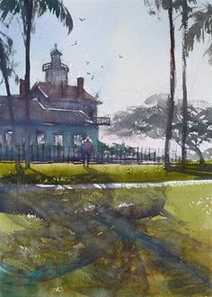 """Point Fermin Lighthouse I, California Landscape Painting"" - Original Fine Art for Sale - © Keiko Tanabe"
