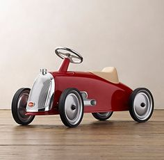 RH Baby & Child's Roadster Scoot:Even the youngest drivers can power our scoot, which is designed without pedals for easy mobility. Its streamlined silhouette was inspired by vintage European race cars. The padded seat and silver-walled rubber tires promi Nursery Furniture, Kids Furniture, Luxury Nursery, Kids Ride On Toys, Restoration Hardware Baby, Race Car Party, Rh Baby, Silver Walls, Pedal Cars