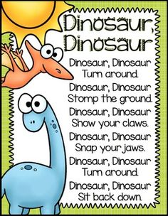 A great song for preschoolers! Dinosaurs: Preschool, Pre-K and Kindergarten Resources This product includes a variety of resources while teaching a dinosaur thematic unit in preschool, pre-k and kindergarten classrooms. This activity pack includes. Dinosaur Classroom, Dinosaur Theme Preschool, Preschool Songs, Preschool Themes, Preschool Lessons, Preschool Learning, Kindergarten Classroom, Teaching, Dinosaur Crafts For Preschoolers