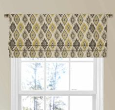 Yellow and Gray Geometric Ikat Faux Shade Valance Yellow And Grey Curtains, Yellow Walls, Grey Walls, Custom Valances, Custom Curtains, Valance Curtains, Warm Paint Colors, Grey Windows, Faux Roman Shades
