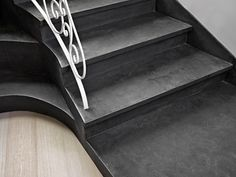 #staircase stylish detail - dark grey #concrete #microtopping http://www.idealwork.com/Micro-Topping-Features-and-benefits.html