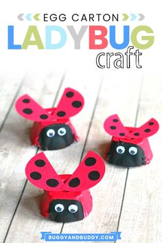 Make this cute ladybug using an egg carton! This easy craft for kids only requires egg cartons, paint, paper and glue. A simple craft for preschool, kindergarten, first grade and on up. Goes great with the book The Grouchy Ladybug by Eric Carle and fun for spring and summer! #craftsforkids #kidscrafts #ericcarle #eggcartoncraft #springcrafts
