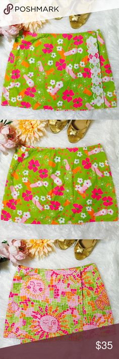"Vintage Lilly Pulitzer Reversible Skirt Vintage Lilly Pulitzer reversible skirt. Lovely skirt for spring, summer and addition to your Lilly Pulitzer Collection. Worn once-excellent condition. Waist: 15"", Lenght: 14.5"". Lilly Pulitzer Skirts Mini"