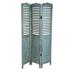 Paravento blu in massello di legno effetto anticato L 120 cm