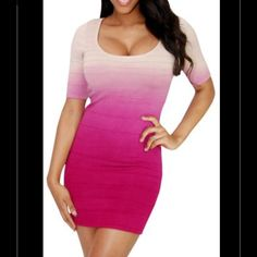 Pink Knit SEXY Open Back Bandage Bodycon Dress This peppery dress puts the emphasis directly on you. Bandage style shaping seam accentuate your curves in this soft knit fashion. The hombre design and a keyhole at the back provide a sexy view of skin.  BRAND : WOWCOUTURE SIZE TYPE JUNIORS : Small CONDITION : BRAND NEW WITHOUT TAGS MATERIALS : 90% Rayon, 9% Nylon, 1% Spandex SLEEVE STYLE : short sleeve COLOR:  Pink , Beige , Fuchsia * COLOR MAY VARY SLIGHTHY DUE TO SETTINGS OF YOUR MONITOR…