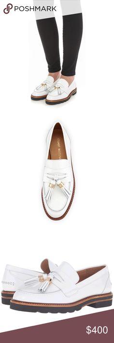 "Stuart Weitzman manila loafer Stuart Weitzman manila loafer  Narrow fit. Heel height: 1.15"". Platform height: 0.5"" .White mirror leather. Stuart Weitzman Shoes Flats & Loafers"
